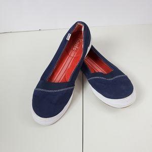Keds Women Blue Canvas Slip on Flats Size 8 US